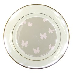 Butterfly Silhouette Organic Prints Linen Metallic Synthetic Wall Pink Porcelain Plates