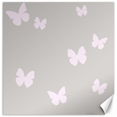 Butterfly Silhouette Organic Prints Linen Metallic Synthetic Wall Pink Canvas 16  X 16   by Mariart