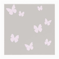 Butterfly Silhouette Organic Prints Linen Metallic Synthetic Wall Pink Medium Glasses Cloth (2 Side) by Mariart