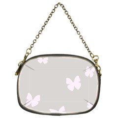 Butterfly Silhouette Organic Prints Linen Metallic Synthetic Wall Pink Chain Purses (two Sides)