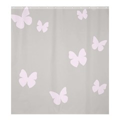 Butterfly Silhouette Organic Prints Linen Metallic Synthetic Wall Pink Shower Curtain 66  X 72  (large)  by Mariart