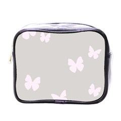 Butterfly Silhouette Organic Prints Linen Metallic Synthetic Wall Pink Mini Toiletries Bags by Mariart