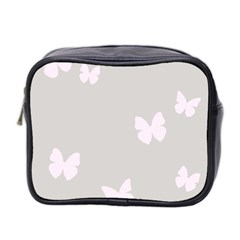 Butterfly Silhouette Organic Prints Linen Metallic Synthetic Wall Pink Mini Toiletries Bag 2 Side by Mariart