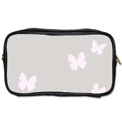 Butterfly Silhouette Organic Prints Linen Metallic Synthetic Wall Pink Toiletries Bags 2 Side by Mariart