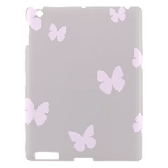 Butterfly Silhouette Organic Prints Linen Metallic Synthetic Wall Pink Apple Ipad 3/4 Hardshell Case by Mariart
