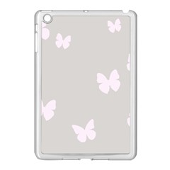 Butterfly Silhouette Organic Prints Linen Metallic Synthetic Wall Pink Apple Ipad Mini Case (white) by Mariart