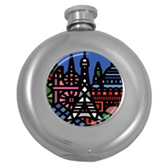 7 Wonders World Round Hip Flask (5 Oz) by Mariart