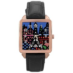 7 Wonders World Rose Gold Leather Watch  by Mariart