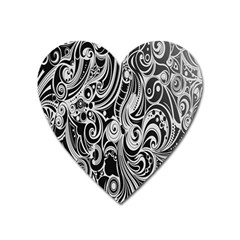 Black White Shape Heart Magnet by Mariart