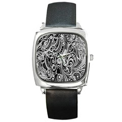 Black White Shape Square Metal Watch by Mariart