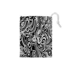 Black White Shape Drawstring Pouches (small)