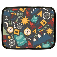 Compass Cypress Chair Arrow Wheel Star Mountain Netbook Case (large) by Mariart