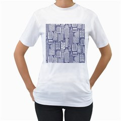 Building Citi Town Cityscape Women s T-shirt (white) (two Sided) by Mariart