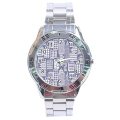 Building Citi Town Cityscape Stainless Steel Analogue Watch by Mariart