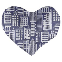 Building Citi Town Cityscape Large 19  Premium Heart Shape Cushions by Mariart