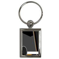 Flag Grey Orange Circle Polka Hole Space Key Chains (rectangle)  by Mariart
