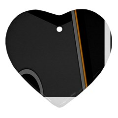 Flag Grey Orange Circle Polka Hole Space Heart Ornament (two Sides) by Mariart