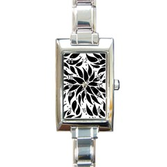 Flower Fish Black Swim Rectangle Italian Charm Watch by Mariart