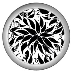 Flower Fish Black Swim Wall Clocks (silver)  by Mariart