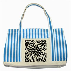 Flower Fish Black Swim Striped Blue Tote Bag by Mariart