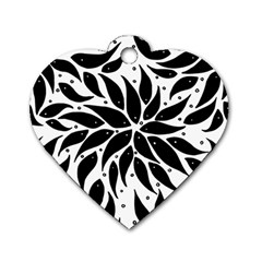 Flower Fish Black Swim Dog Tag Heart (two Sides) by Mariart