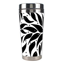 Flower Fish Black Swim Stainless Steel Travel Tumblers by Mariart