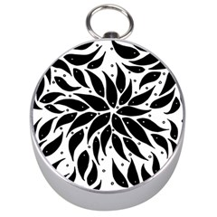 Flower Fish Black Swim Silver Compasses by Mariart