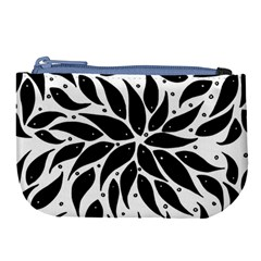 Flower Fish Black Swim Large Coin Purse by Mariart
