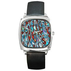 Dizzy Stone Wave Square Metal Watch by Mariart