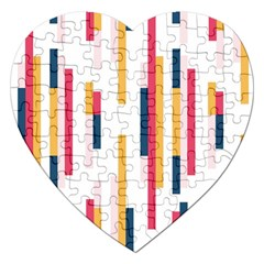 Geometric Line Vertical Rainbow Jigsaw Puzzle (heart) by Mariart