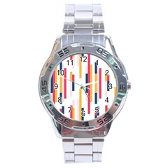 Geometric Line Vertical Rainbow Stainless Steel Analogue Watch by Mariart