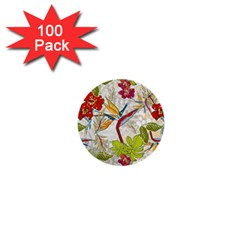 Flower Floral Red Green Tropical 1  Mini Buttons (100 Pack)  by Mariart