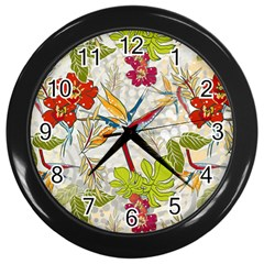Flower Floral Red Green Tropical Wall Clocks (black) by Mariart