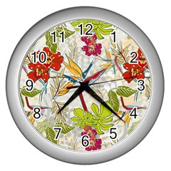 Flower Floral Red Green Tropical Wall Clocks (silver)  by Mariart