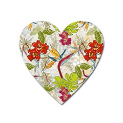 Flower Floral Red Green Tropical Heart Magnet by Mariart