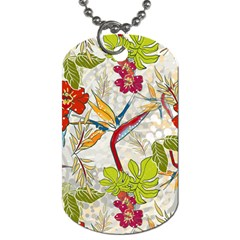 Flower Floral Red Green Tropical Dog Tag (two Sides) by Mariart