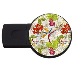 Flower Floral Red Green Tropical Usb Flash Drive Round (2 Gb) by Mariart
