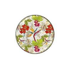 Flower Floral Red Green Tropical Hat Clip Ball Marker (4 Pack)