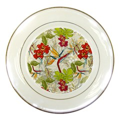Flower Floral Red Green Tropical Porcelain Plates by Mariart