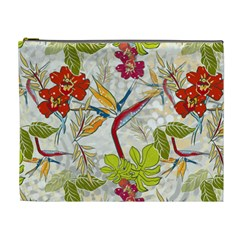 Flower Floral Red Green Tropical Cosmetic Bag (xl) by Mariart