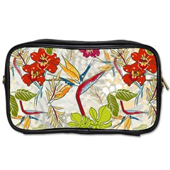 Flower Floral Red Green Tropical Toiletries Bags by Mariart