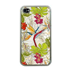 Flower Floral Red Green Tropical Apple Iphone 4 Case (clear) by Mariart