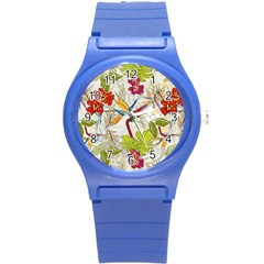 Flower Floral Red Green Tropical Round Plastic Sport Watch (s) by Mariart