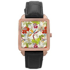Flower Floral Red Green Tropical Rose Gold Leather Watch  by Mariart