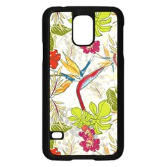 Flower Floral Red Green Tropical Samsung Galaxy S5 Case (black) by Mariart