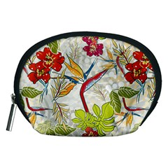 Flower Floral Red Green Tropical Accessory Pouches (medium)