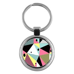 Geometric Polka Triangle Dots Line Key Chains (round)  by Mariart