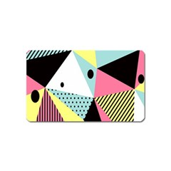 Geometric Polka Triangle Dots Line Magnet (name Card) by Mariart