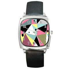 Geometric Polka Triangle Dots Line Square Metal Watch