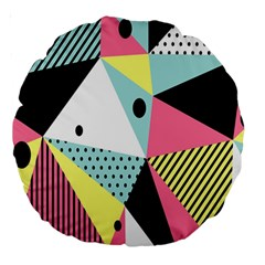Geometric Polka Triangle Dots Line Large 18  Premium Round Cushions by Mariart